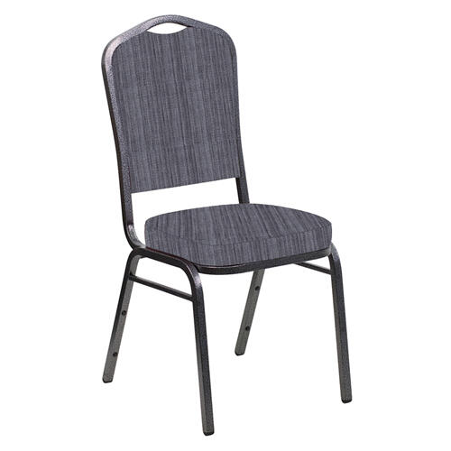 Crown Back Banquet Chair in Sammie Joe Pewter Fabric - Silver Vein Frame