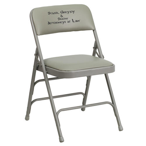 Embroidered HERCULES Series Curved Triple Braced & Quad Hinged Gray Vinyl Upholstered Metal Folding Chair