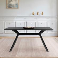 See Details - Margot Dark Gray Rectangular Dining Table with Black Finish