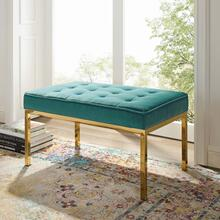 Loft Gold Stainless Steel Leg Medium Performance Velvet Bench in Gold Teal