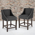 """Carmel Series 24"""" High Transitional Walnut Counter Height Stool with Nail Trim in Charcoal Fabric, Set of 2 Product Image"""
