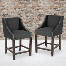 "Carmel Series 24"" High Transitional Walnut Counter Height Stool with Nail Trim in Charcoal Fabric, Set of 2"