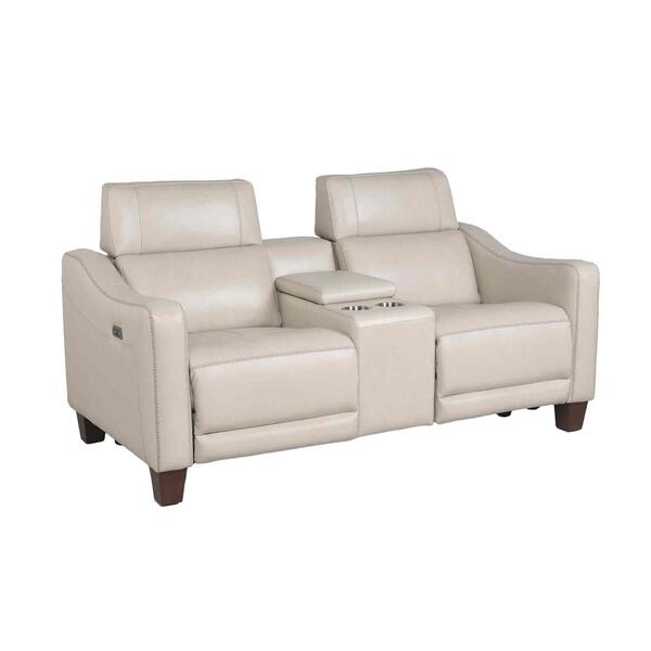 See Details - Giorno Dual-Power Leather Console Loveseat, Ivory