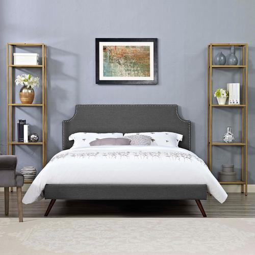 Modway - Corene Full Fabric Platform Bed with Round Splayed Legs in Gray