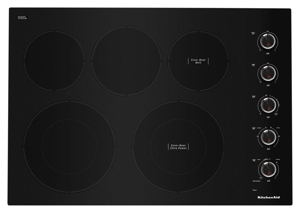 "Kitchenaid30"" Electric Cooktop With 5 Elements And Knob Controls - Black"