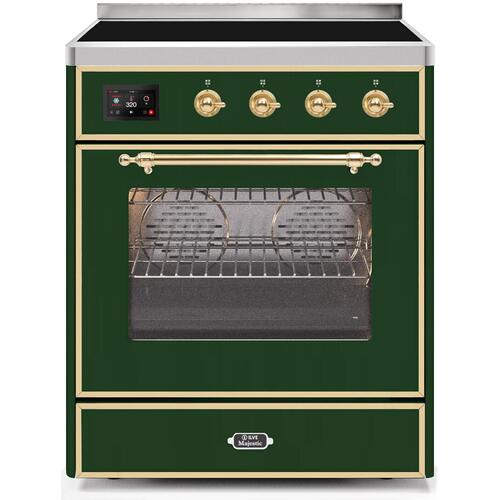 Majestic II 30 Inch Electric Freestanding Range in Emerald Green with Brass Trim