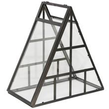 Mini Greenhouse  21in X 11in X 20in Black Metal with Clear Glass Table Top