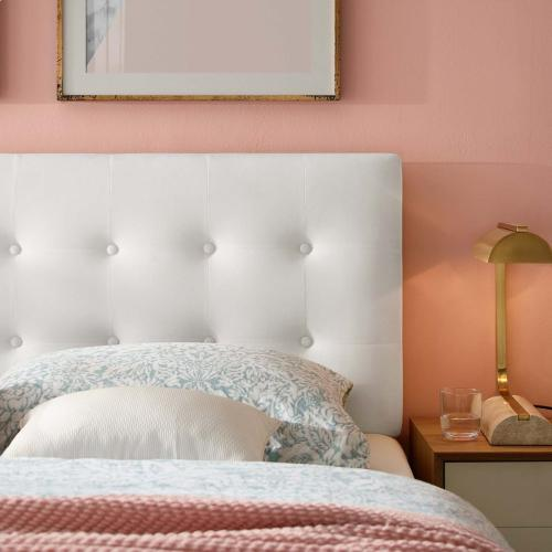 Emily Full Biscuit Tufted Performance Velvet Headboard in White