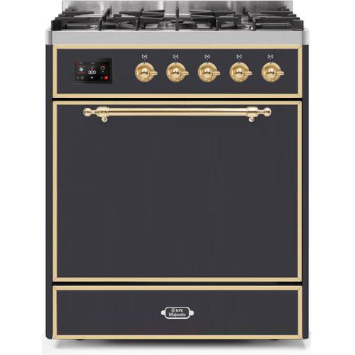 Majestic II 30 Inch Dual Fuel Natural Gas Freestanding Range in Matte Graphite with Brass Trim