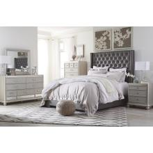 California King Upholstered Bed With Mirrored Dresser