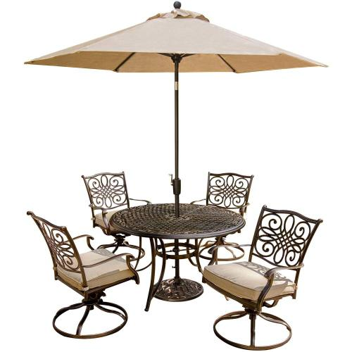 Hanover Traditions 5-Piece Dining Set with Four Swivel Rockers and a 48 in. Round Table, TRADITIONS5PCSW