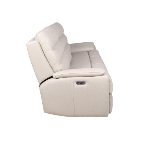 Duval Leather Dual-Power Reclining Sofa, Ivory