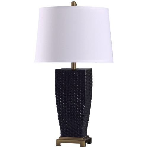 Sea Navy  29in Elegant Dimpled Glass Body & Metal Base Table Lamp  150 Watts  3-Way
