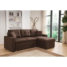 8008 BROWN Linen Pull Out Sectional Sofa