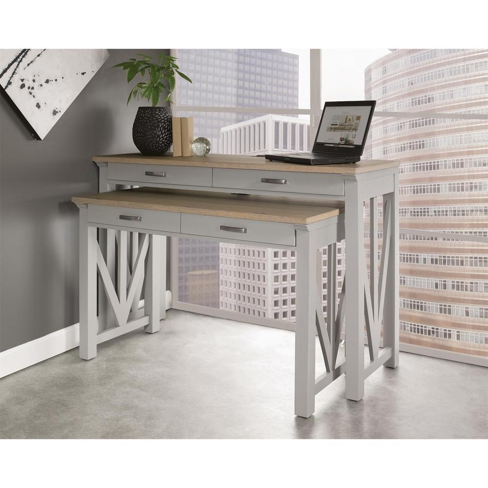 """See Details - Osborne - 30"""" Nesting Desk - Timeless Oak/gray Skies Finish"""