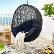Encase Sunbrella® Fabric Swing Outdoor Patio Lounge Chair Without Stand in Black Navy