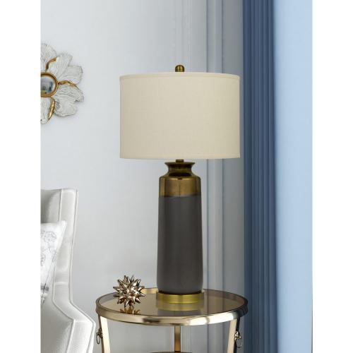Lecce Copper Glazed Ceramic Table Lamp With Hardback Fabric Shade