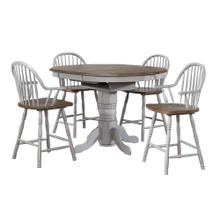 DLU-CG4260CB30AGO5  5 Piece Round or Oval Extendable Pub Table Set  4 Barstools with Arms  Distressed Gray and Brown Wood