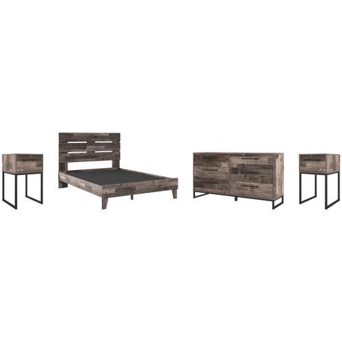 Gallery - Queen Platform Bed With Dresser and 2 Nightstands