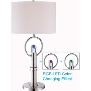 Table Lamp, Ps/fabric Shade, E27 Cfl 23w & LED 0.18WX4