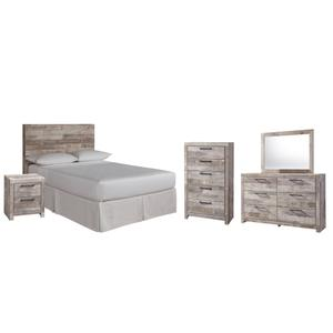 Full Panel Headboard With Mirrored Dresser, Chest and Nightstand