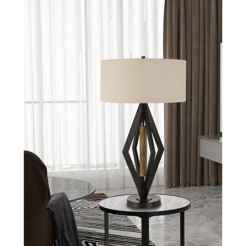 Terrassa Metal Table Lamp With Wood Accent And Hardback Linen Shade
