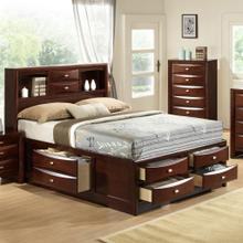 Emily 111 Merlot Wood Storage QUEEN & KING Bed, King