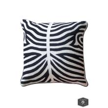 See Details - ELLIOTT PILLOW- BLACK  Hand Embroidered Wool on Cotton  Down Feather Insert