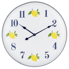 White & Blue Enamel Lemon Wall Clock