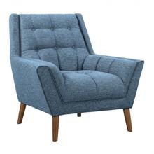 Armen Living Cobra Mid-Century Modern Chair in Blue Linen and Walnut Legs