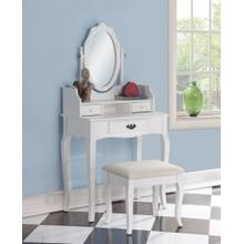 Ribbon Wood Makeup Vanity Table and Stool Set - White