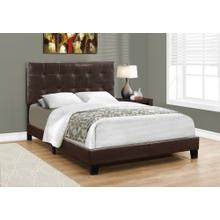 See Details - BED - FULL SIZE / DARK BROWN LEATHER-LOOK