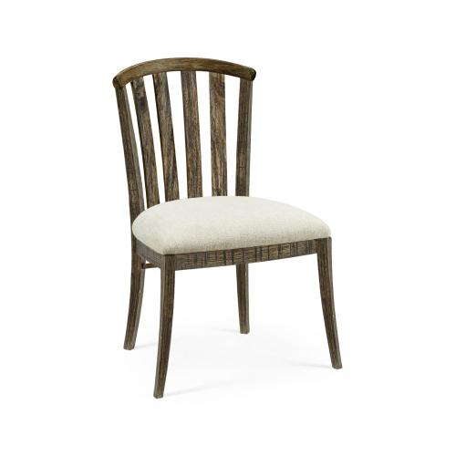 Country Style Dark Driftwood Curved Back Side Chair, Upholstered in Shambala