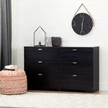 6-Drawer Double Dresser - Black Oak