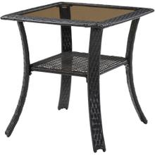 Hanover Strathmere 27 in. Square Glass Top Woven Bistro Table, 140-TC
