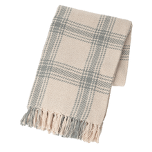 Grey & Natural Plaid Woven Throw