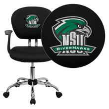 Northeastern State University Riverhawks Embroidered Black Mesh Task Chair with Arms and Chrome Base