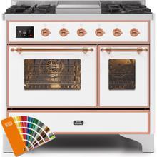 Majestic II 40 Inch Dual Fuel Liquid Propane Freestanding Range in Custom RAL Color with Copper Trim