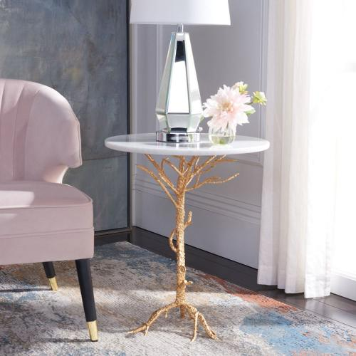 Carolyn Rooted Gold Accent Table - White / Gold