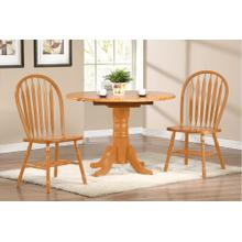 "DLU-TPD4242-820-LO3PC  3 Piece 42"" Round Drop Leaf Dining Set  Arrowback Chairs"