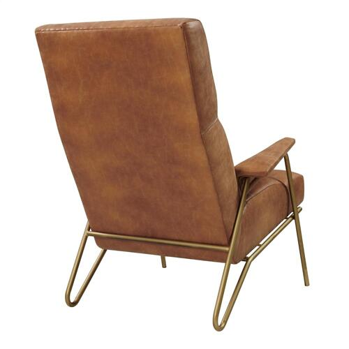 Caspian Bonded Leather Accent Arm Chair Gold Legs, Vintage Cider