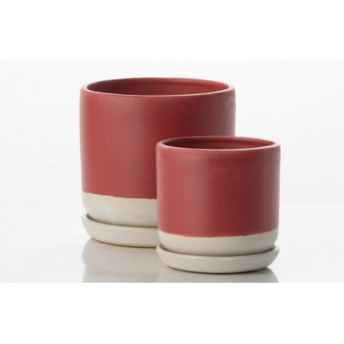 Alfresco Home - Barca Carved Petits Pots w/ attached saucer - White and Burgandy (set of 2)