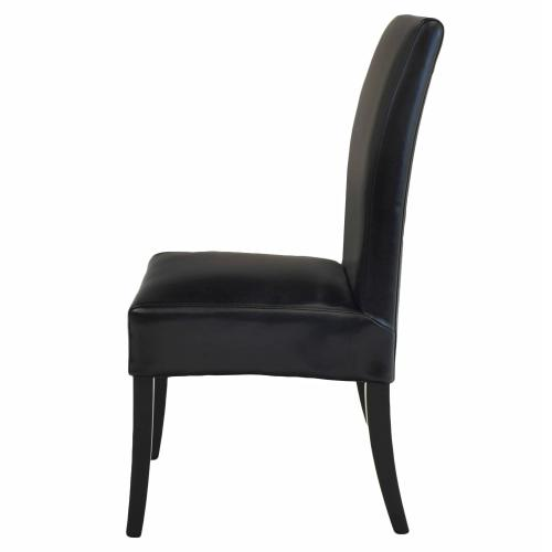 Valencia Leather Dining Side Chair, Black