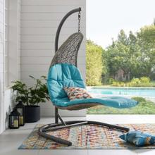 Landscape Hanging Chaise Lounge Outdoor Patio Swing Chair in Light Gray Turquoise
