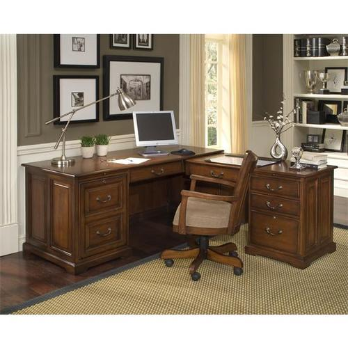 Riverside - Cantata L Computer Workstation #4930 with #4931 Hutch Burnished Cherry finish-Floor Sample-**DISCONTINUED**