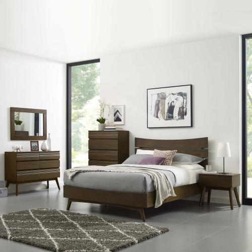 Modway - Everly Queen Wood Bed in Walnut