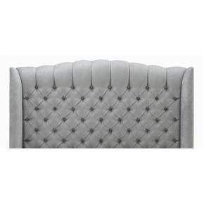 """Melanie Queen bed, narrow base with front drawer and decorative nails 7/8"""" (LS) Silver."""