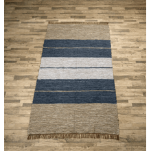 See Details - Blue Striped Leather Chindi 5x8 Rug (Each One Will Vary)
