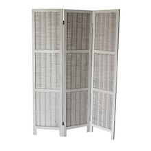 7040 WHITE Rustic Woven 3-Panel Room Divider