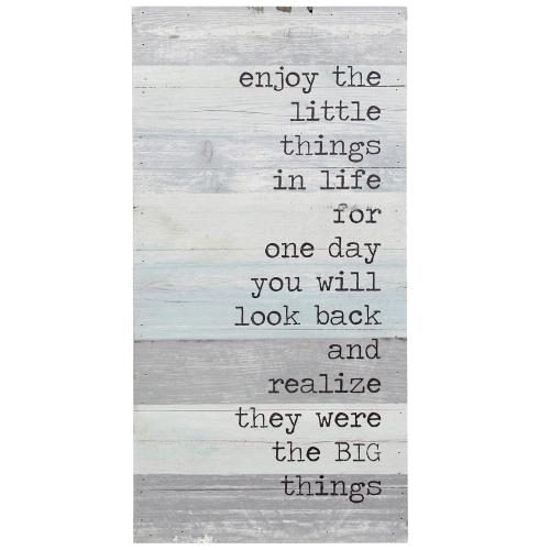 Style Craft - The Little Things in Life  12in X 24in X 2in  Traditional Print on Wood Panel Wall Art